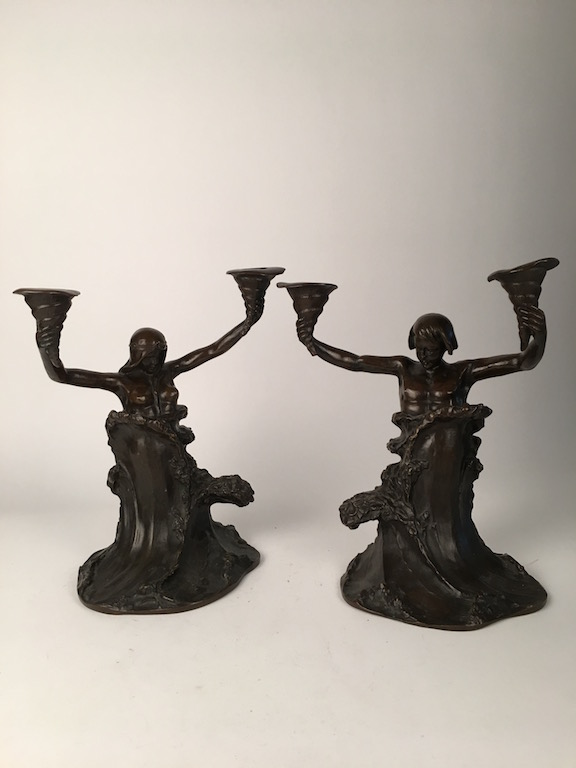 A pair of Art Nouveau bronze candalebras.<BR>Attributed to Charles Louchet, French