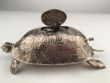 925 Silver mechanical singing bird box as a Turtle,