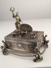 925 Silver mechanical singing bird box with a lady standing