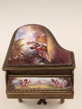 Austrian enamel painted piano music box.