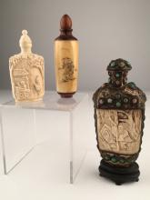 Three antique Chinese snufff bottles.<BR>
