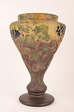 Daum Nancy cameo vase decorated with berries
