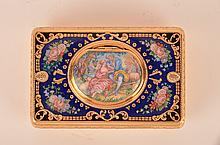 Mechanical singing gold gilt and enamel bird box, when the slid bar is slid to