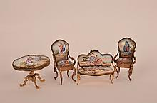Four piece minature  porcelain and bronze set of furniture