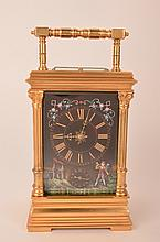Hour repeater carriage clock with three Limoges panels and beveled glass.