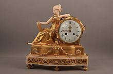 19th Century European gilt bronze and ivory mantle clock.