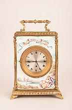 Austrian painted porcelain five panel clock.