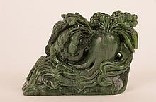 Antique Spinach jade carving of flowers, leaves and berries