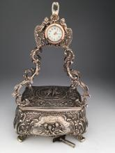 Mechanical sterling silver singing bird box automaton.