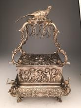 Mechanical sterling silver singing bird box automaton with a slide out drawer