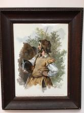 Painting of Don Quixote on a porcelain plaque.