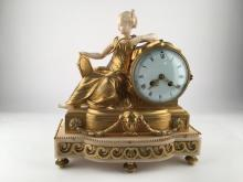 19th Century European gilt bronze and mantle clock.