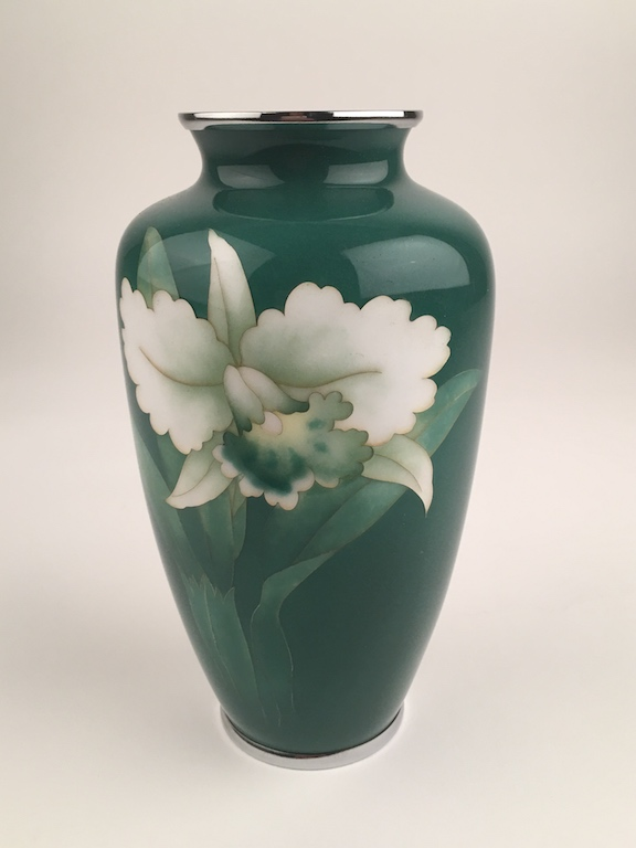 Japanese jade green cloissoine vase with chrome top and bottom rim.