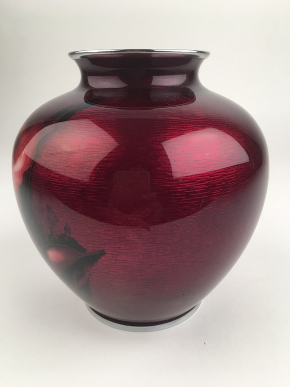 Japanese ox blood cloissoine vase with chrome top and bottom rim. Height 6 1/4