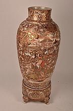 An antique and very rare large Satsuma monumental urn with base.