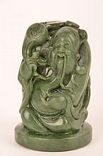 Circa 19 century Chinese carved Spinach jade figure of an old man