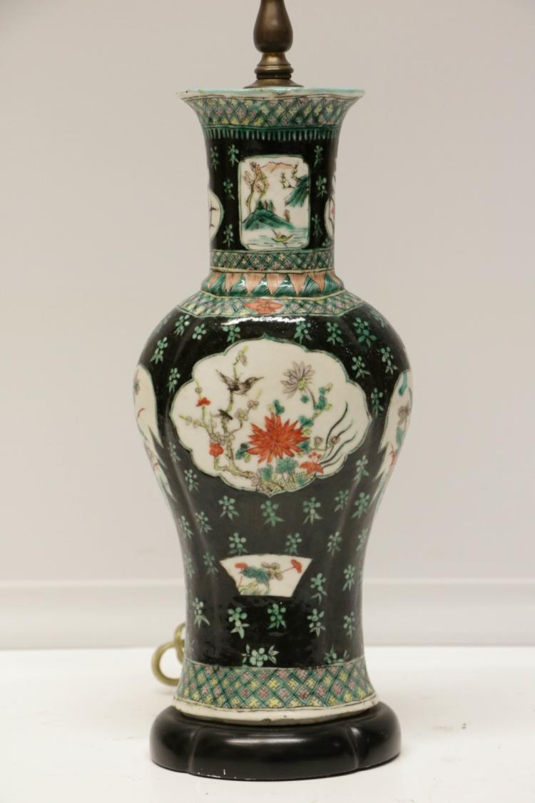 Antiquechinese famille rose porcelain vase as lamp for Asian antiques uk