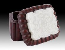 18th C.Chinese Jade Rectangular Plaque on Wood Box