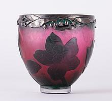 Hammered Two Color Silver Mounted Daum Nancy Vase
