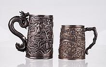 19th C. Two Chinese Sterling Silver Cups