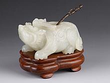 16th C. Chinese Jade Carved Brush Wash w/ Base