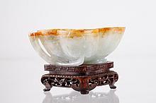 Chinese Jadeite Brush Washer w/ Natural Russet