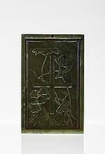 19th C. Chinese Spinach Jade Rectangular Box