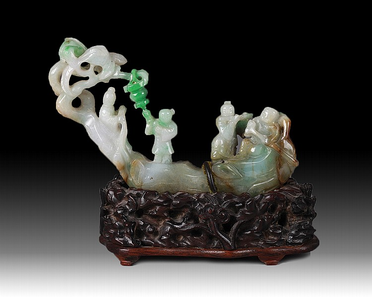 19th C. Chinese Jadeite Carving of Four Figures