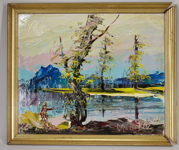 Morris katz original oil on board painting for Katz fine art
