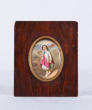 Enamel Painting on Porcelain w/ Wood Frame