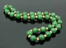 Vintage 14K Chinese Jadeite Beaded Necklace