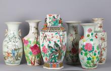 6 Pieces Chinese Famille Rose Vases