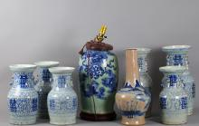 8 Pieces Chinese Blue/White Vases