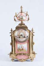 19th C. French Dore Bronze w/ Enamel PaintingClock