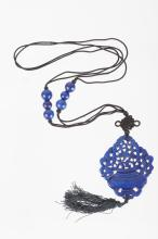 Chinese Lapis Carved Pendant w/ Beads Necklace