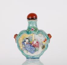 19th C. CH Porcelain w/ High Relief Motif Figure