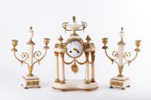 19th C. French 3 Pieces Set Marble w/ Gilt Clock