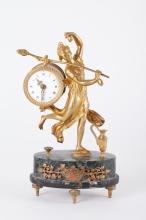 19th C. French Dore Bronze Clock w/ Stone Base