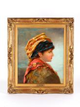 19th C. Oil Painting of Young Lady, Signed