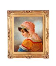 19th C. Oil Painting of Young Lady