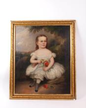 19th C. Oil Painting of a Girl on Canvas