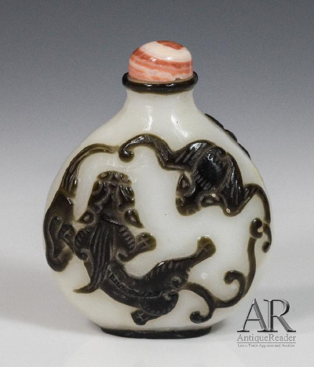 Chinese Glass Snuff Bottle Overlay Black Fish/ Bat