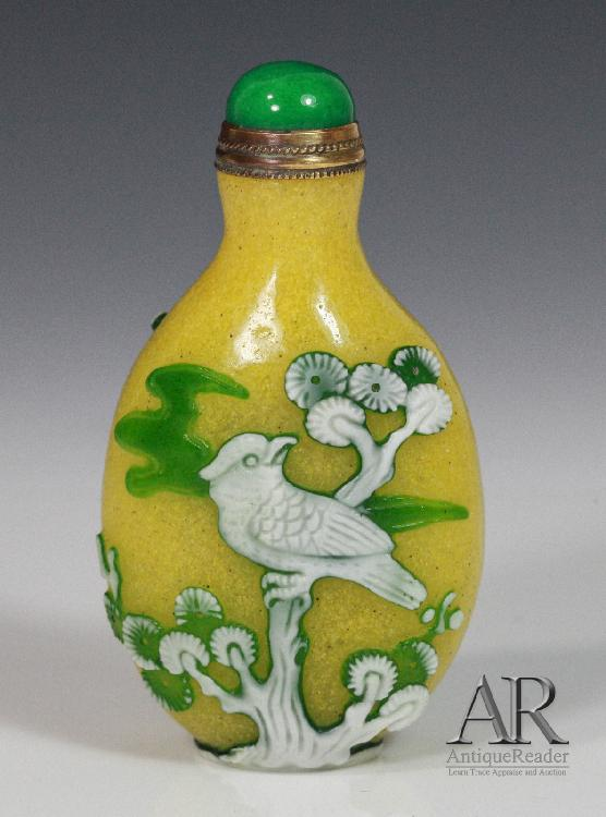 Chinese Glass Yellow Ground Snuff Bottle