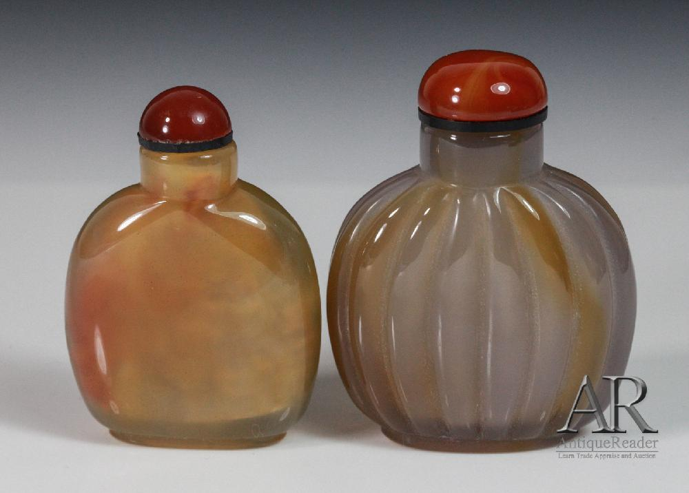 Two Chinese Agate Snuff Bottles