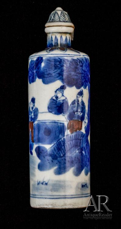 Chinese Blue & Iron-Red Snuff Bottle