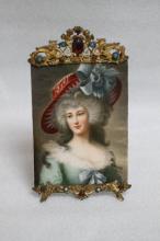19th C. European Porcelain Plaque w/ Gilt Frame
