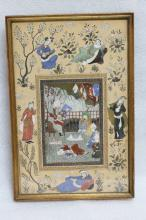 Persian Miniature on Paper w/ Frame - 19th C.