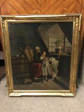 Oil on Cardboard w/ Gilt Wood Frame
