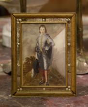 European Enamel Painting w/ Bronze Frame