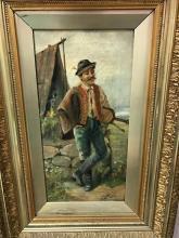 Oil Painting on Canvas w/ Gilt Frame